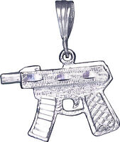 Sterling Silver Machine Gun Pendant Necklace Diamond Cut Finish With Chain