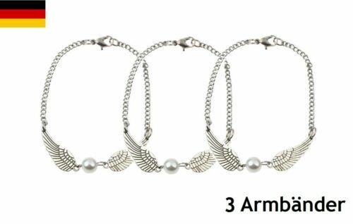 * 3x Pulsera Brazalete perla ala de ángel Ángel collar cadena de plata charm *