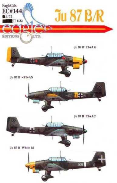 1565 1//72 decals German Junkers Stuka JU87 JU-87 JU87B//R//D