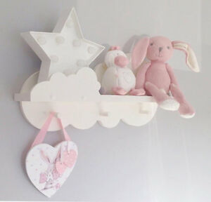 Nursery-cloud-shelf-cloud-peg-shelf-50cms-wide-3-shaker-pine-pegs-hand-painted