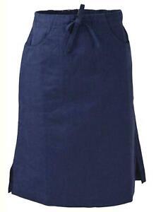 MISTRAL Navy Linen Skirt Elasticated Back Waist Pockets Side Splits Size10