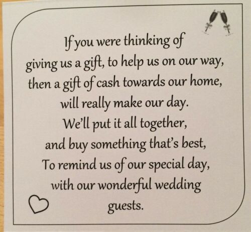 Square Money Request Poems for Home Wedding Cards Black on White KP006 BL//WT