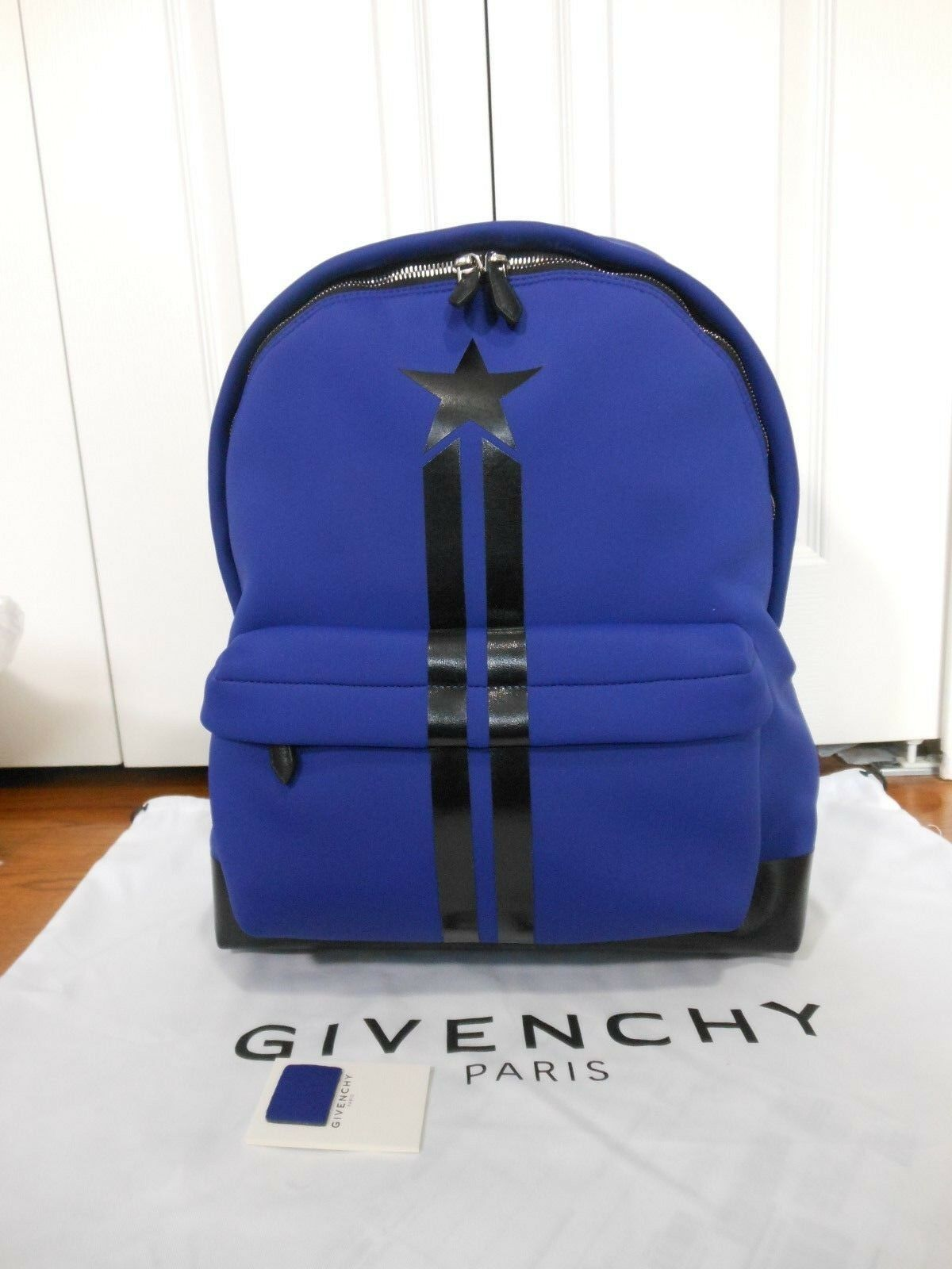 29e6629be30 New Authentic Givenchy $1690 Star & Stripe Neoprene Backpack, Blue
