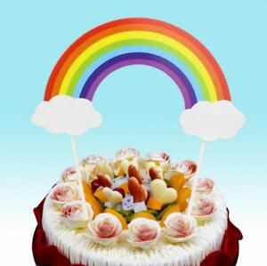 Image Is Loading 1Pcs Rainbow Happy Birthday Cake Topper Wedding Cupcake