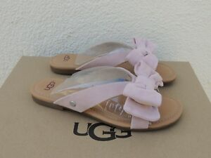 e916685d8cc Details about UGG FONDA SEASHELL PINK SUEDE BOW SLIDE SANDALS, WOMEN US  7.5/ EUR 38.5 ~NIB