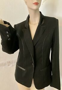WD-NY-Womens-Black-Jacket-Tuxedo-Style-Satin-Look-Trim-amp-Buttons-Size-M
