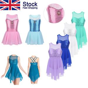 UK-Kids-Princess-Dress-Girls-Ballet-Sequins-Dancewear-Costume-Gym-Leotard-Skirts
