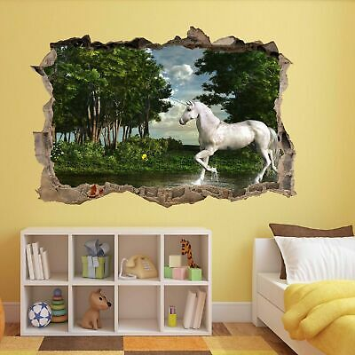 Accurato Unicorno Magico Bosco Muro Adesivo Murale Bambini Camera Da Letto Arredamento Casa Ufficio Az3-mostra Il Titolo Originale Superiore (In) Qualità