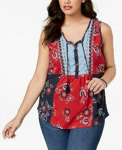 STYLE/&CO Women/'s Plus Red Blue Sleeveless Patchwork Peasant Blouse Top 1X 2X