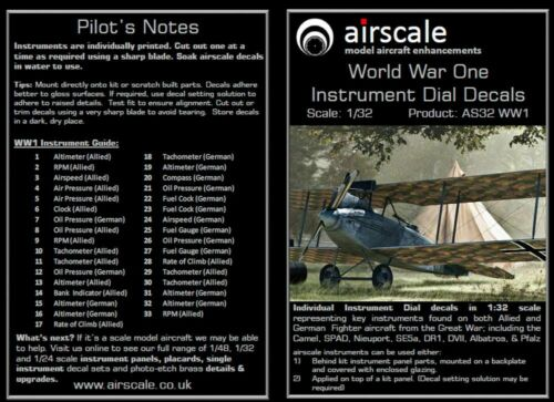 1//32 scale  AS32 WW1 airscale Model Aircraft WW1 Cockpit Instrument Dial decals