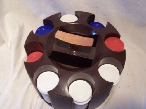 Vintage TriState Plastic Poker Chips wRevolving Caddy Turning Card Holder
