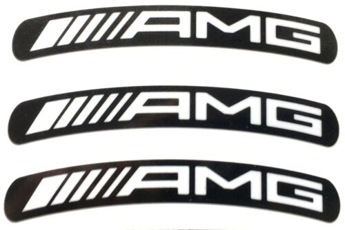 "Mercedes AMG Wheel Rim Stickers x8 White on Black Laminated 117 x 15mm x 19/"" Rim"