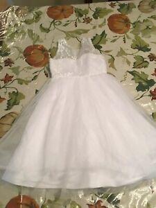 White Virgin Mary Embroidered Baby Girls Baptism Christening Wedding Girl Dress