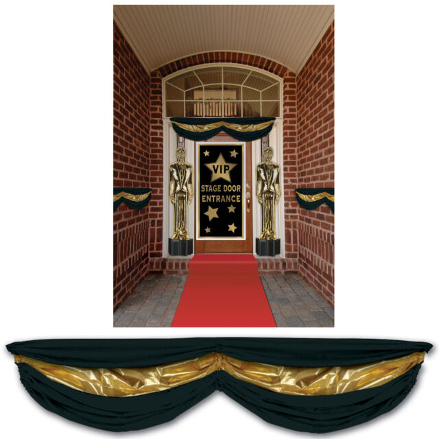 Hollywood GOLD and BLACK FABRIC BUNTING Hanging Party Decoration AWARD NIGHT