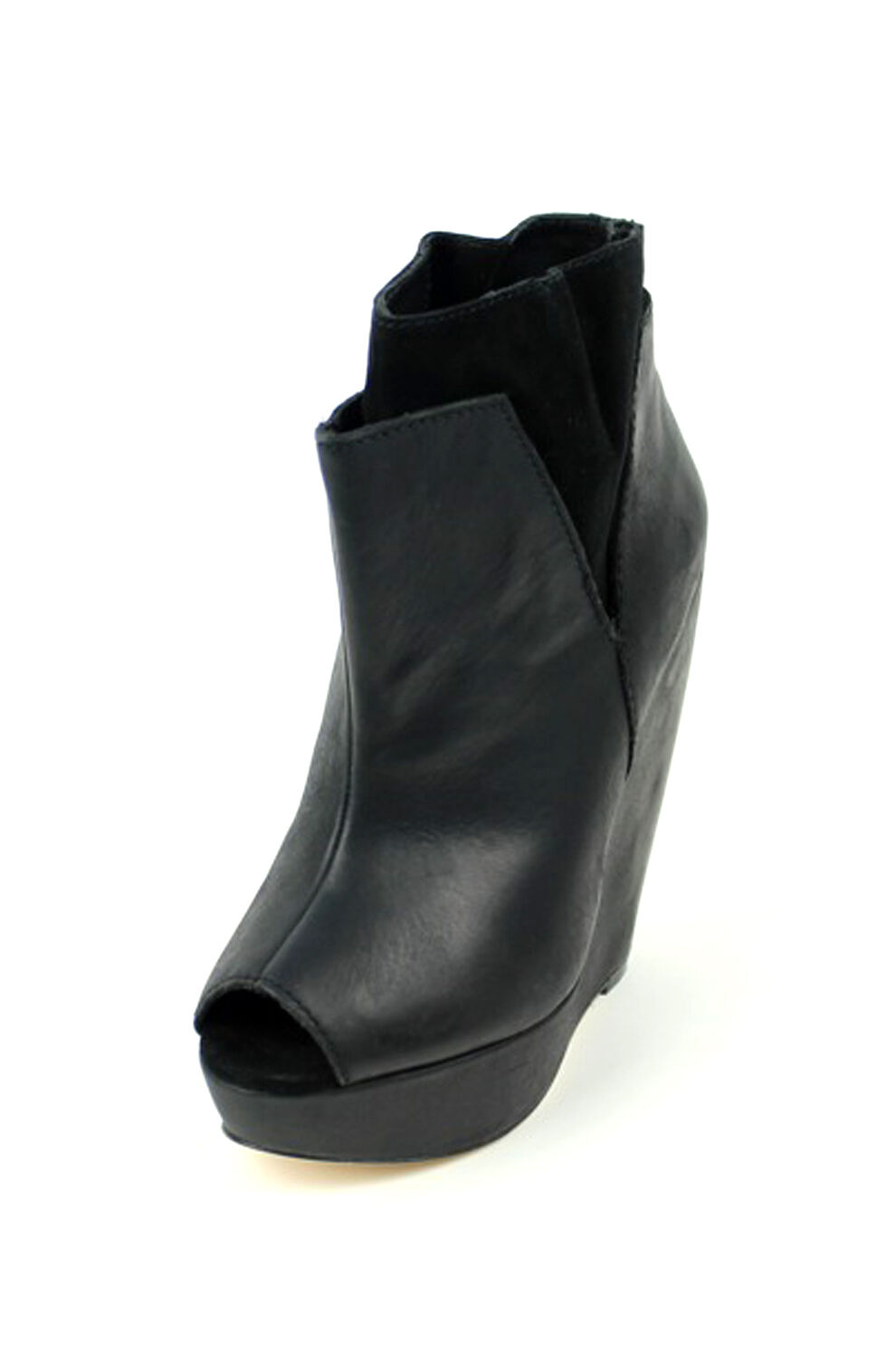 Joe's Jeans Corby Black Leather Boots $295 Bootie Wanton Wedges High Ankle NEW