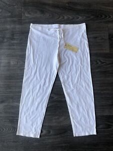 NWT-Da-Nang-Women-039-s-Drawstring-Capri-Leggings-White-Size-Small