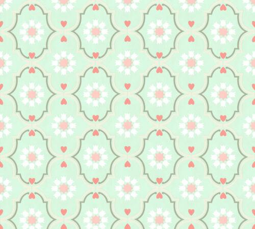 Vlies Tapete Ornamente Sterne Herzen Floral mint grün rosa Cozz 36297-6