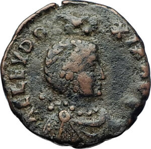 EUDOXIA-Arcadius-Wife-401AD-Authentic-Ancient-Roman-Coin-VICTORY-CHI-RHO-i70394