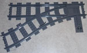 Fahrzeug Dark Bluish Gray Zug-Weiche 9V links Teile
