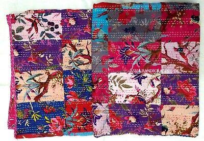 Indian Kantha Quilt Indigo Patchwork Block Print Bedspread Ethnic Vintage Art