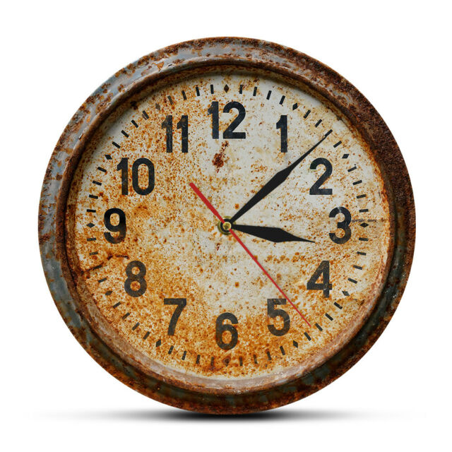 Retro Rusty Old Wall Clock 3D illusion Printed Acrylic Watch Primitive Timepiece