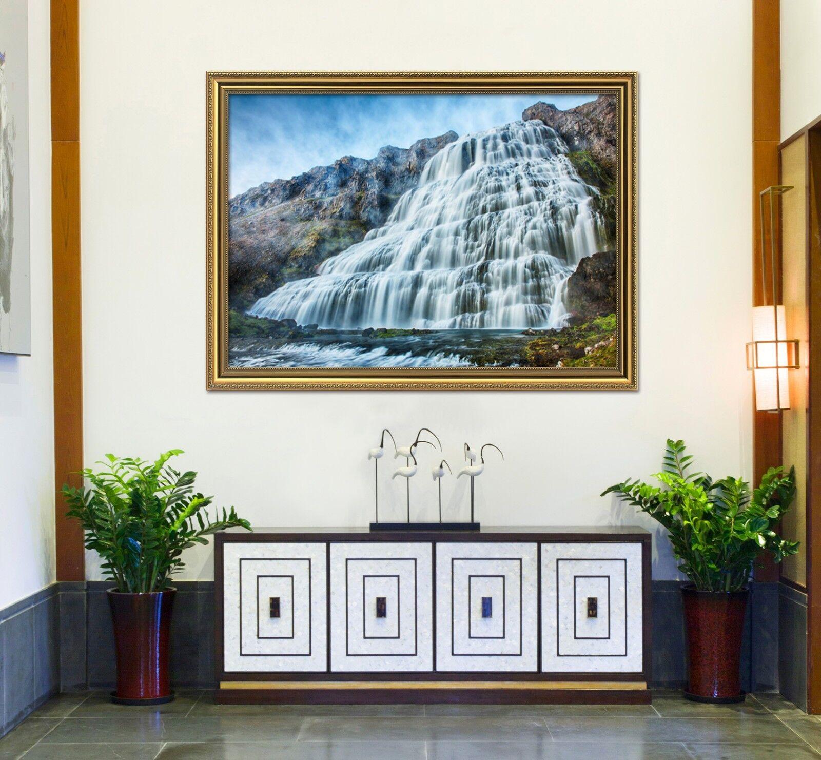 Acantilado Cascada 67 Póster Enmarcado 3D Decoración del Hogar Pintura de Impresión Arte AJ Wallpaper
