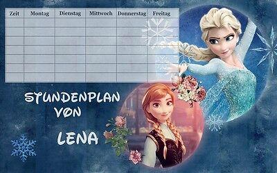 Stundenplan Eiskönigin - Frozen 1 mit Name möglich