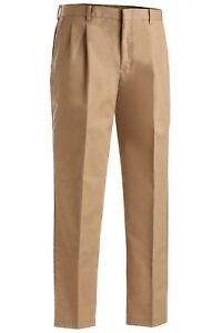 Edwards Garment Mens Business Casual Flat Front Brass Zipper Pant