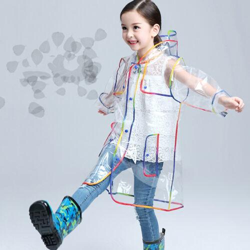 KIDS GIRL BOY CLEAR HOODED JACKET RAIN PONCHO RAINCOAT COVER RAINWEAR SUPREME