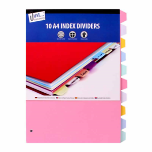 10 A4 Index Folder Dividers Ready To Use Ring Binder Files Universal Punched New