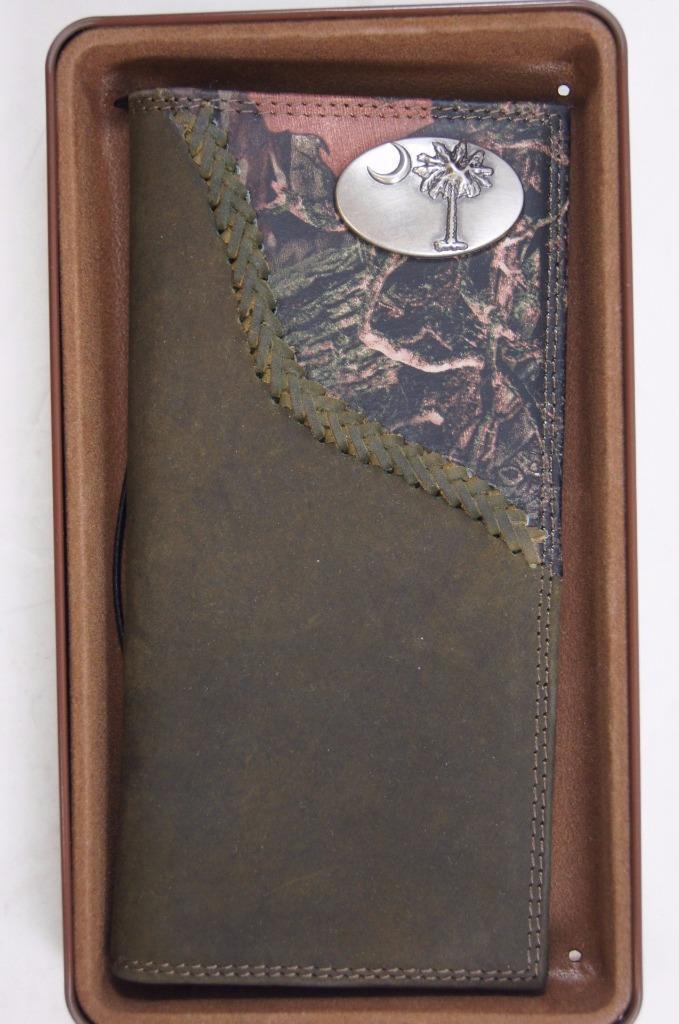 ZEP-PRO South Carolina Palmetto Tree Roper Leather Fence Row Camo Wallet TIN BOX