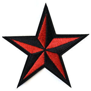 Nautical-Star-Iron-On-Patch-Retro-Rockabilly-Red-Black-Embroidered-Sew-On