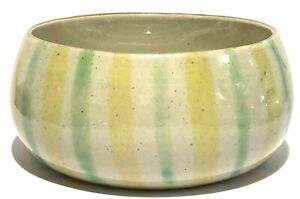 DENMARK SIGNED MID CENTURY MODERN STUDIO ART POTTERY PAINTED STRIPED BOWL DISH
