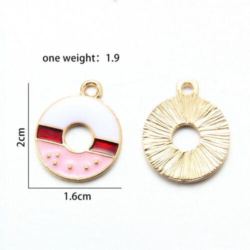 10X Multicolor Enamel Ice Cream Bowknot Donuts Charms Pendant DIY Jewelry Making