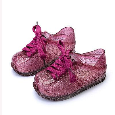 Children Unisex Lace-up Sport Jelly Shoes Summer Rain Hollow Rubber Kids Sandal