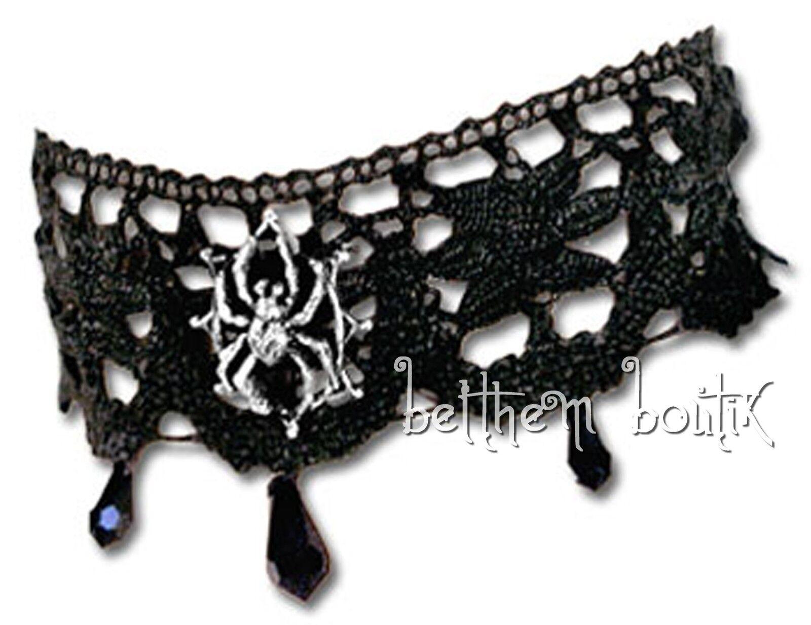 Goth  Alchemy Collier Ras Cou Dentelle Araignée Arachnathea Lace Choker Gothique