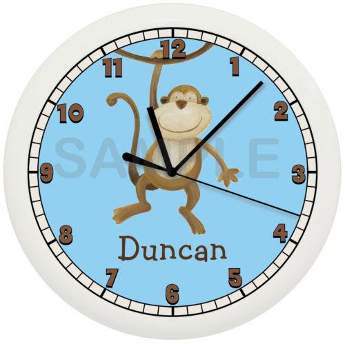 JUNGLE MONKEY WALL CLOCK PERSONALIZED NURSERY BOYS BEDROOM DECOR BLUE ADD NAME