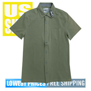 Express-Men-039-s-NWT-STRETCH-Moisture-Wicking-Black-Button-Front-Shirt-FREE-SHIPPIN