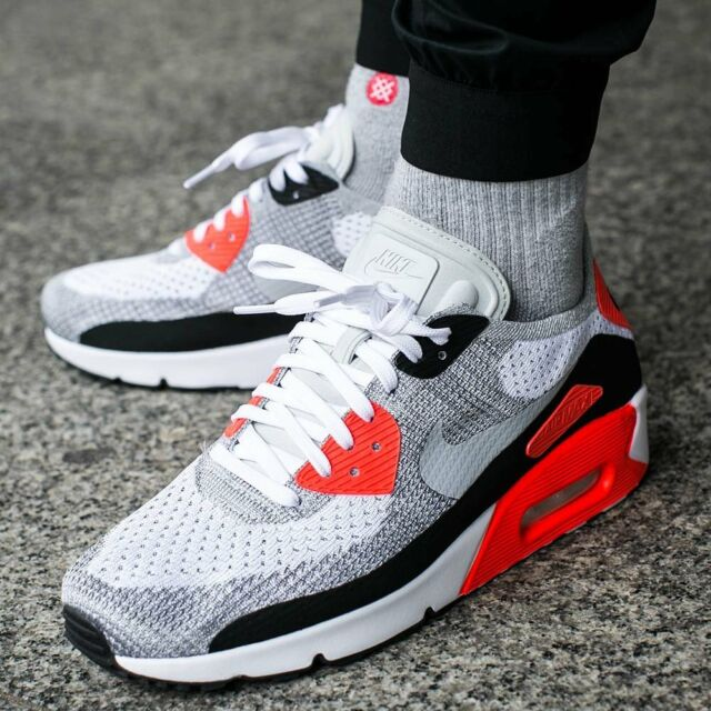 Mens Nike Air Max 90 Ultra 2.0 Sneakers New White Grey Crimson 875943-100  sku fcbc73936