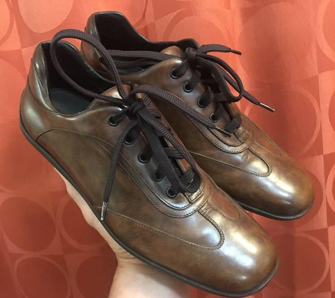 7.5 ERHommesGILDO ZEGNA Bicycle Toe en cuir marron lacets chaussure très faible kilométrage Italie