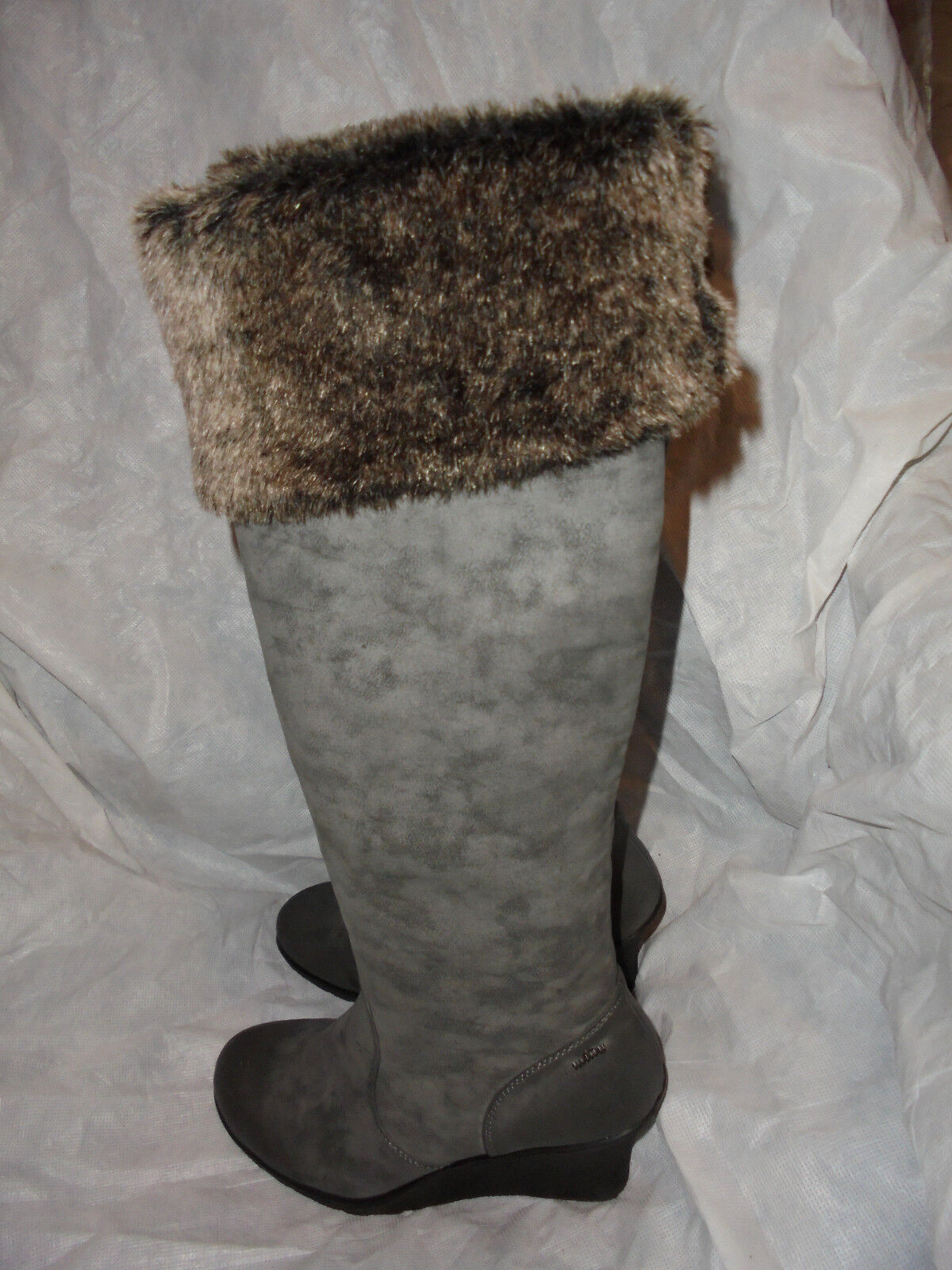 MTNG WOMEN'S GREY GREY GREY LEATHER PULL ON  ZIP KNEE HIGH BOOT + FUR  SIZE UK 7 EU 40 VGC b0991a