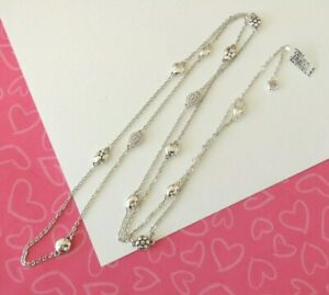 Brighton-Pebble-Mix-Silver-Crystal-Stations-Long-Necklace-New-Tags-98