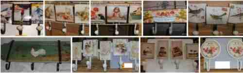 Garderobe 3 Wandhaken Pinupgirl Werbe Schild Geschenk Eisen Vintage+Shabby Chic1