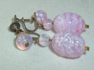 Vintage Sterling Silver Pink Glass Bead Dangle Screw Back Earrings
