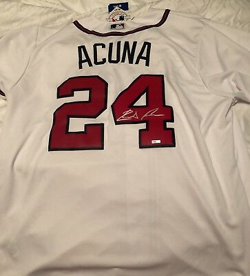 2022e3610 Ronald Acuna AUTOGRAPHED Atlanta Braves CoolBase Authentic Jersey. ROY