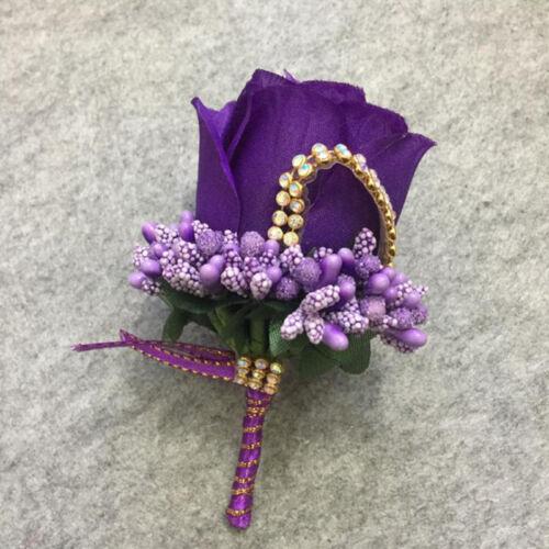 Simulation Rose Corsage Flower Men Women Groom Boutonniere Wedding Party Decor