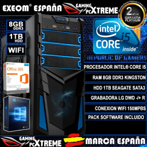 Ordenador Gaming Pc Sobremesa Intel Core i5 8GB DDR3 1TB WIFI Windows 10 Office