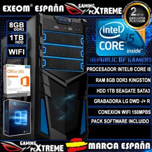 Ordenador Gaming Pc Sobremesa Intel Core i5 8GB DDR3 1TB WIFI Windows 10 Office