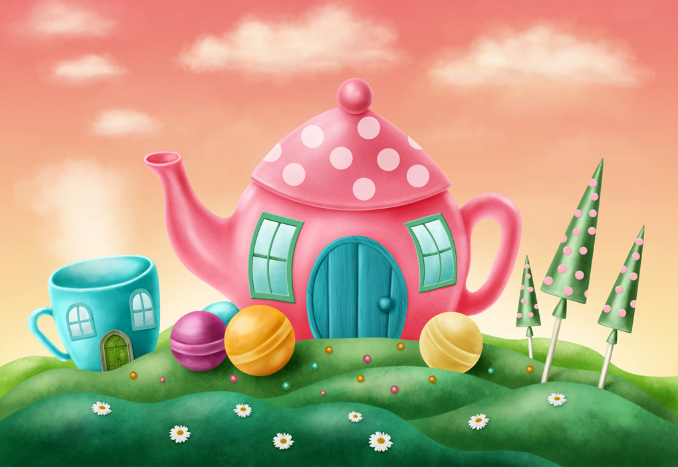 3D Teehaus Malerei Kind 7045 Tapete Wandgemälde Tapeten Tapeten Tapeten Bild Familie DE Summer | Sehr gute Qualität  |  90044b