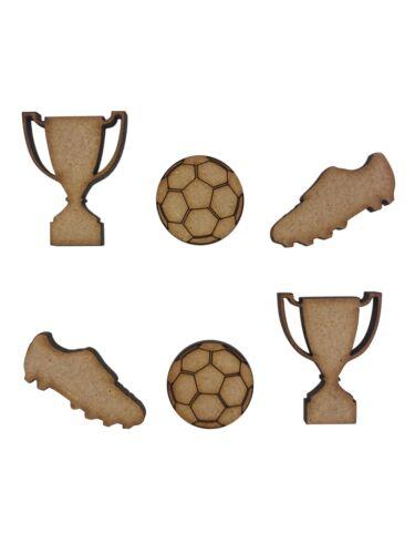 20x Mixed Football Trophy Boots 3cm Wood Craft Embelishments Laser Cut Shape MDF
